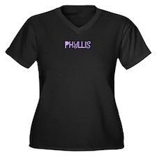 Phyllis Women's Plus Size V-Neck Dark T-Shirt