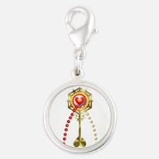 Holy Communion: Divine Mercy Silver Round Charm