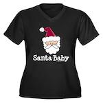 Santa Baby Christmas Women's Plus Size V-Neck Dark