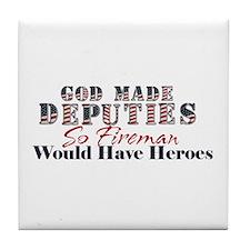 God Made Deputy Tile Coaster