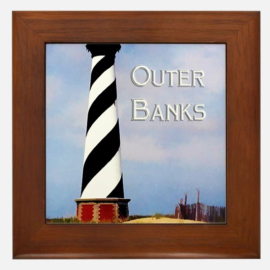 Cape Hatteras Lighthouse Poster Text O Framed Tile