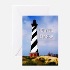 Cape Hatteras Lighthouse Poster Tex Greeting Cards