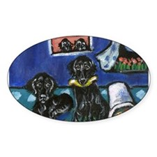 FLAT COATED RETRIEVER mischie Oval Decal
