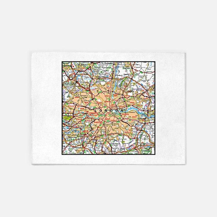 Map of London England 5'x7'Area Rug