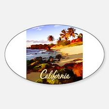 Palms, Beach, Rocks Ocean at Sunset Calif Decal
