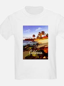 Palms, Beach, Rocks Ocean at Sunset Calif T-Shirt