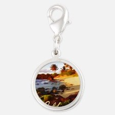 Palms, Beach, Rocks Ocean at Sunset Califo Charms