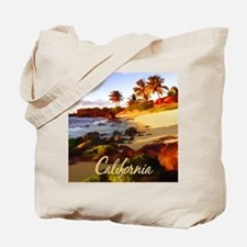 Palms, Beach, Rocks Ocean at Sunset Cali Tote Bag