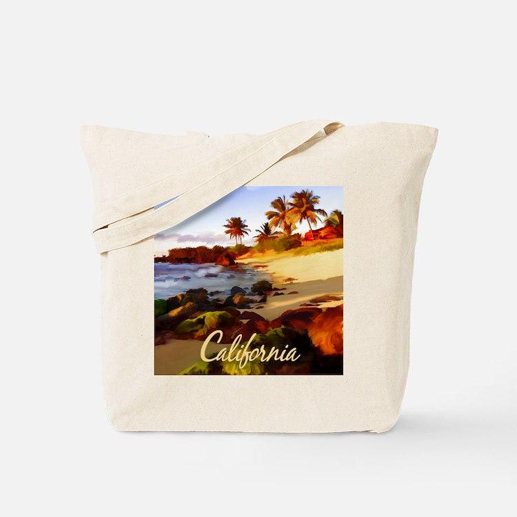 Palms, Beach, Rocks Ocean at Sunset Cali Tote Bag