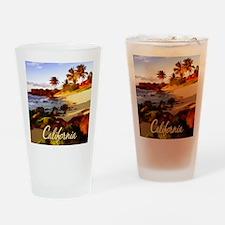 Palms, Beach, Rocks Ocean at Sunse Drinking Glass