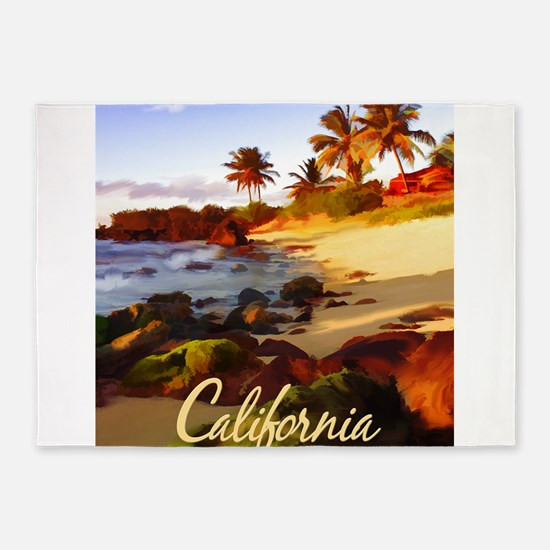 Palms, Beach, Rocks Ocean at Sunse 5'x7'Area Rug