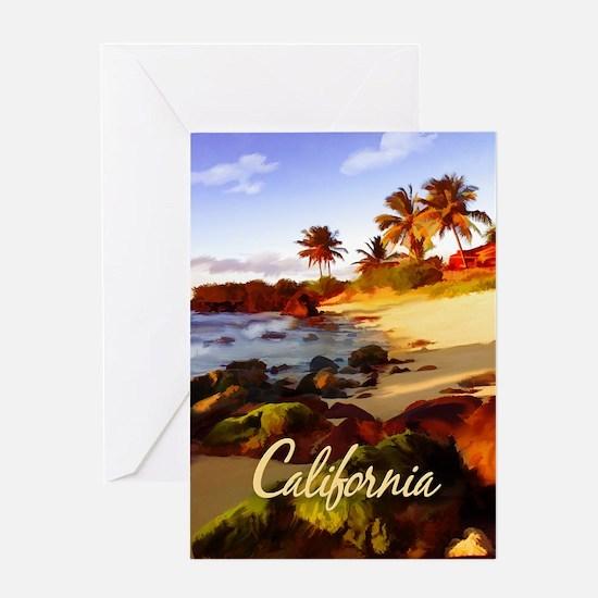 Palms, Beach, Rocks Ocean at Sunse Greeting Cards