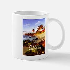 Palms, Beach, Rocks Ocean at Sunset Californ Mugs