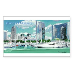 San Diego Marina by Riccoboni Rectangle Decal