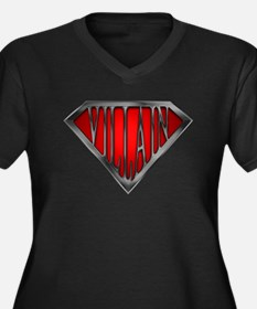 Super Villain Women's Plus Size V-Neck Dark T-Shir