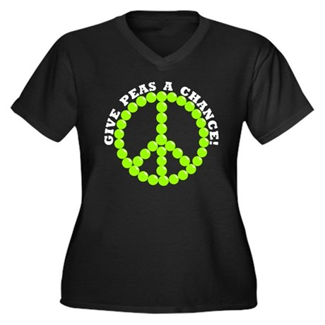 Give Peas A Chance Women's Plus Size V-Neck Dark T