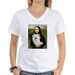 MonaLisa-AmEskimoDog Women's V-Neck T-Shirt
