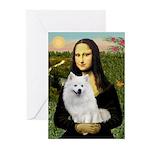 MonaLisa-AmEskimoDog Greeting Cards (Pk of 10)