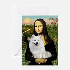 MonaLisa-AmEskimoDog Greeting Card