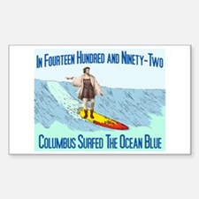 columbus surfed 2 Rectangle Decal