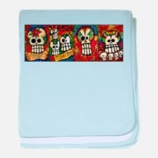 Sugar Skulls Day of the Dead baby blanket