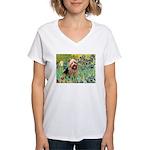 Irises - Aussie Terrier Women's V-Neck T-Shirt