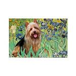 Irises - Aussie Terrier Rectangle Magnet