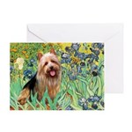 Irises - Aussie Terrier Greeting Card