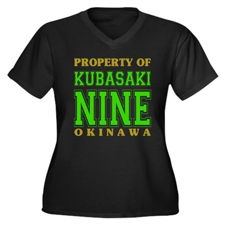 Kubasaki Nine Women's Plus Size V-Neck Dark T-Shir