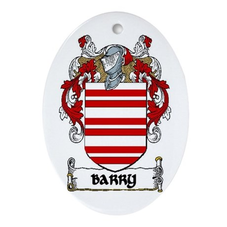 Barry Coat of Arms Ornament (Oval)
