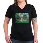 Bridge / Bedlington T Women's V-Neck Dark T-Shirt