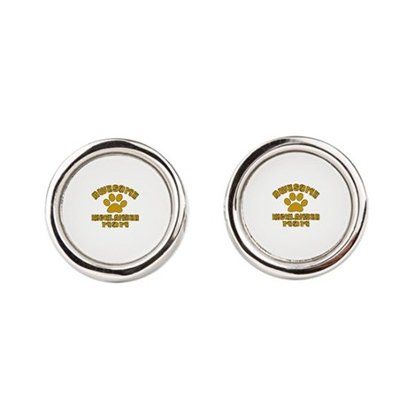 Awesome Highlander Mom Designs Round Cufflinks