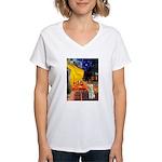 Cafe / Bedlington T Women's V-Neck T-Shirt