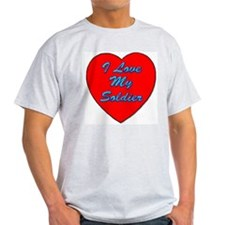 I Love My Soldier Ash Grey T-Shirt