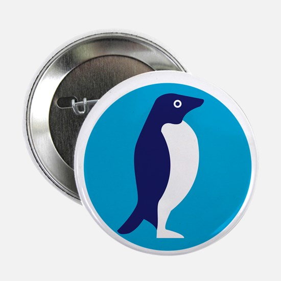 "Adelie Penguin Circle Retro 2.25"" Button (10 pack)"