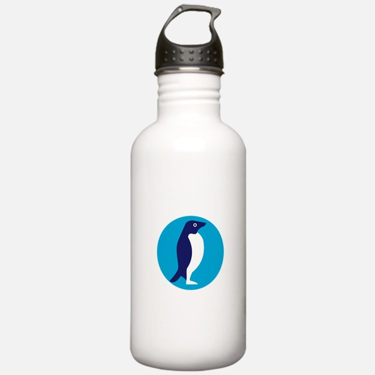 Adelie Penguin Circle Retro Water Bottle