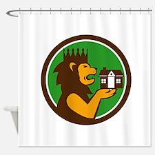 King Lion Holding House Circle Retro Shower Curtai