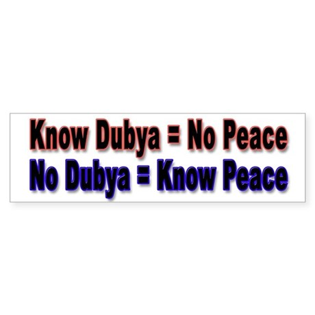 No Dubya Bumper Sticker