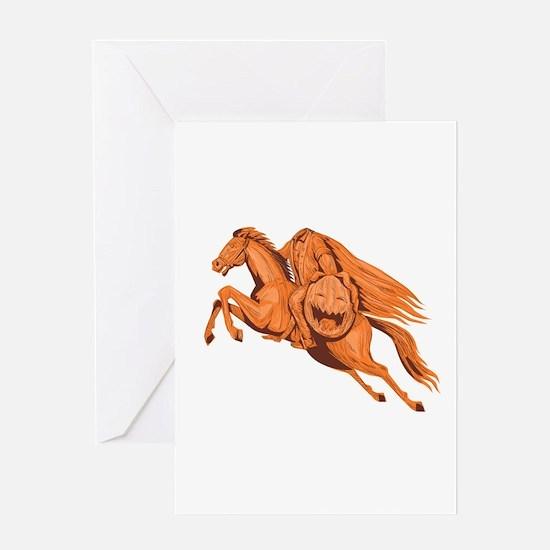 Headless Horseman Pumpkin Head Drawing Greeting Ca