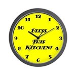 Wall Clock - Bless This Kitchen - Yellow