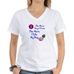 The More Boys, I Like My Dog Women's V-Neck T-Shir