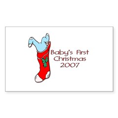 Baby's First Christmas 2007 Rectangle Decal
