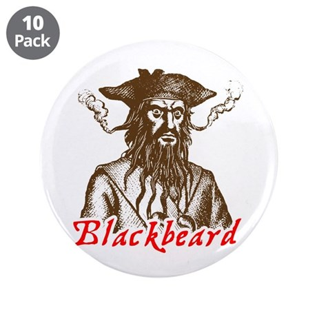 "Red Blackbeard 3.5"" Button (10 pack)"