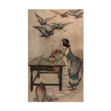 Warwick Goble's The Seven Doves Sticker (Rectangul