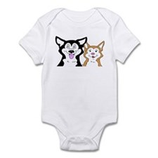 Copper and Black Siberian Husky Puppies Infant Bod