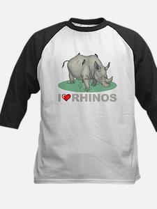 I Love Rhinos Kids Baseball Jersey