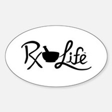 Black Rx Life Sticker (Oval)