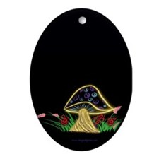 Peace Shroom Oval Ornament
