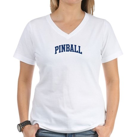Pinball (blue curve) Women's V-Neck T-Shirt