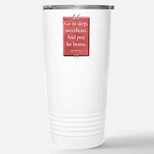 Pray for Brains Quote Ceramic Travel Mug